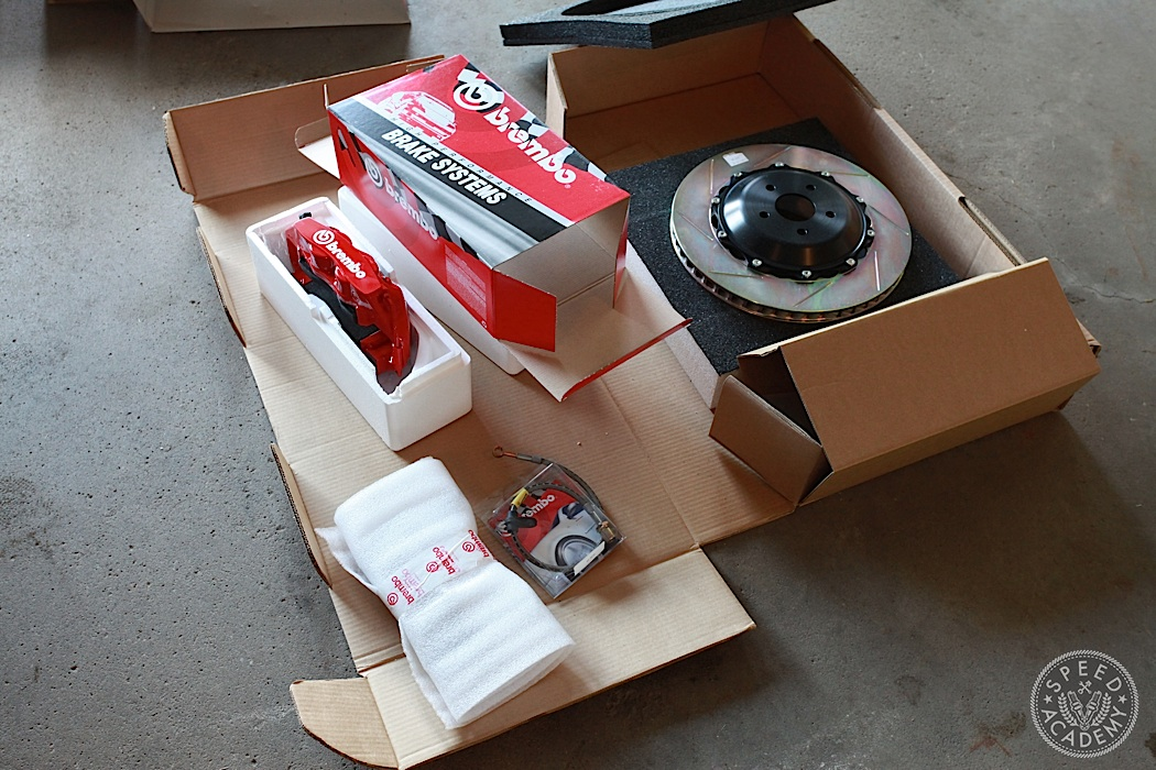 Brembo's GT brake kits come complete with callipers, rotors, mounting brackets and brake lines. Just bleed the brakes with a good high-temp fluid and you're ready to pound out the laps at the race track.