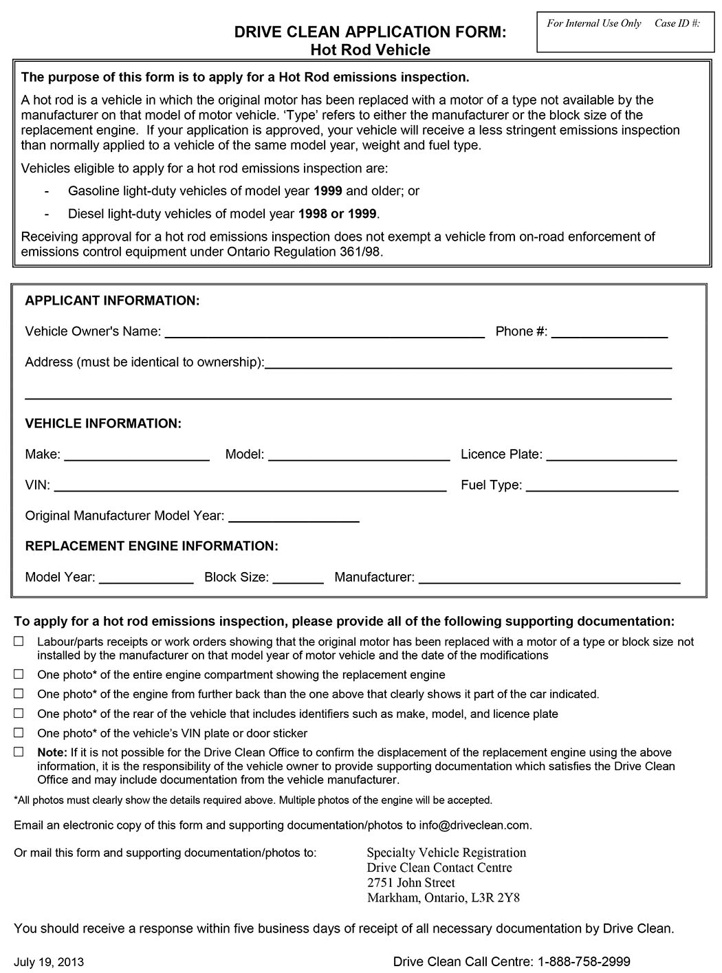 DRIVE CLEAN APPLICATION FORM: