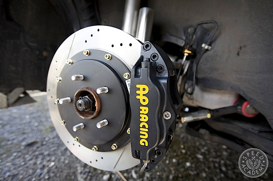 The Stillen rear kit I chose uses a 4-piston two-piece AP Racing caliper and a 13'' two-piece rotor.