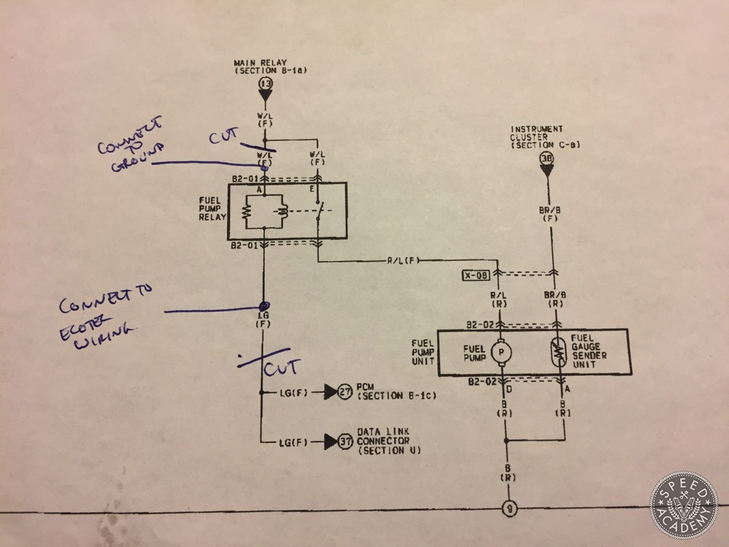 Mazda Miata 24l Ecotec Swap Part 6 Wiring Speed Tachometer Diagram Harness On Our Nb The Tach Signal Wire Was Green Orange But Check Your Own Diagrams